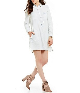 Jessica Simpson Katya Long-Sleeve Chambray Shirt Dress