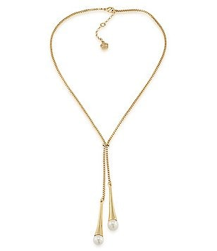 Trina Turk White Sands Faux-Pearl Double-Drop Y-Necklace