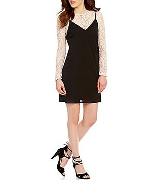 Soprano Long-Sleeve Lace 2-Fer Slip Dress