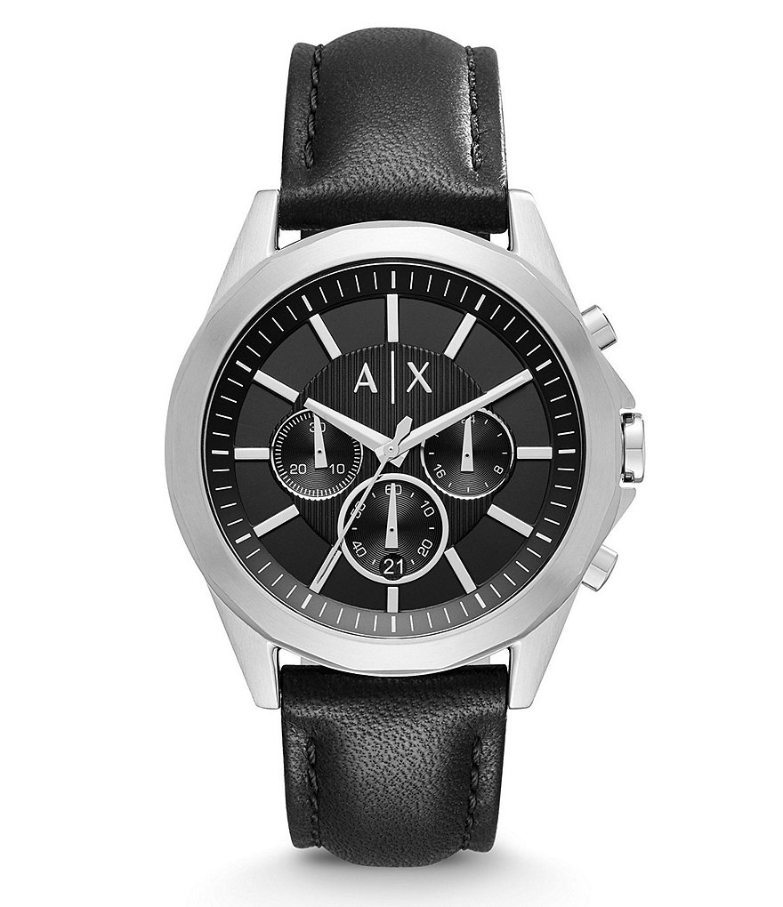 AX Armani Exchange Drexler Chronograph Leather-Strap Watch