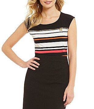 Calvin Klein Stripe Matte Jersey Cap Sleeve Scoop Neck Top