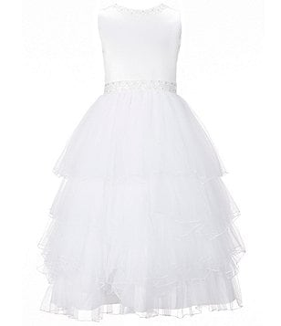 Joan Calabrese Big Girls 7-14 Satin Beaded-Waist Tiered Tulle Dress