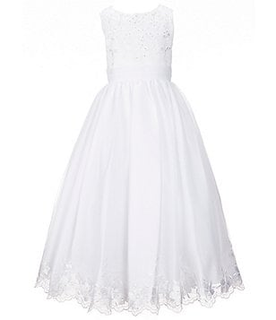 Joan Calabrese Big Girls 7-14 Lace-Appliqué Satin Tulle Dress