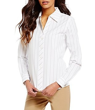 Investments Gold Label Non-Iron Long Sleeve Button-Front Stripe Shirt