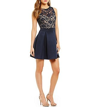 B. Darlin Sleeveless Sequin-Lace Bodice Skater Dress