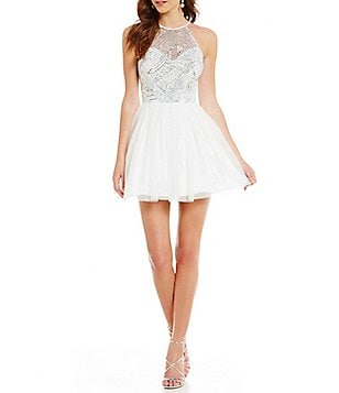 B. Darlin High Neck Illusion-Yoke Sequin Pattern Bodice Skater Party Dress