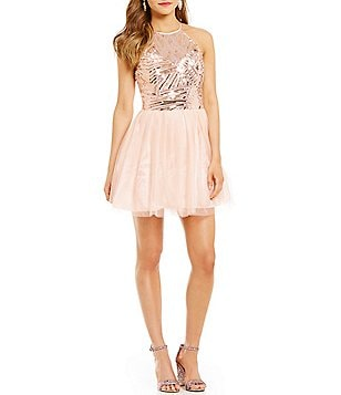 B. Darlin High Neck Illusion-Yoke Sequin Pattern Bodice Party Skater Dress