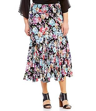 Calessa Plus Long Floral Skirt