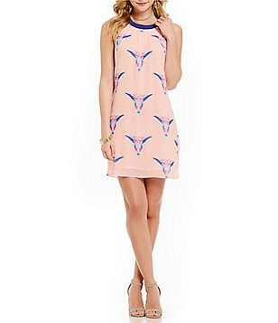 Skies Are Blue Printed Longhorn Shift Dress