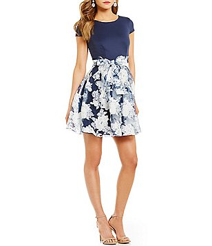 B. Darlin Cap-Sleeve Floral Burnout Skater Dress