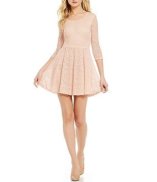 B. Darlin 3/4 Sleeve Lace Skater Dress