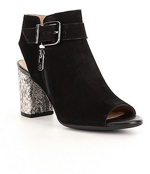 Antonio Melani Zippered Suede Snake Print Block Heel Peep-Toe Booties