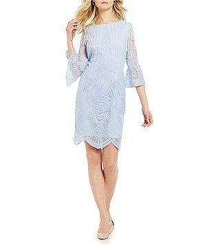 Antonio Melani Allegra Embroidered Mesh Bell Sleeve Dress