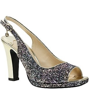 J. Renee Calador Glitter Slingback Peep Toe Metallic Heel Dress Pumps