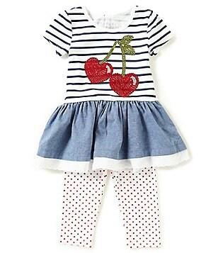 Flapdoodles Little Girls 2T-6X Striped Cherries Dress & Dotted Leggings Set