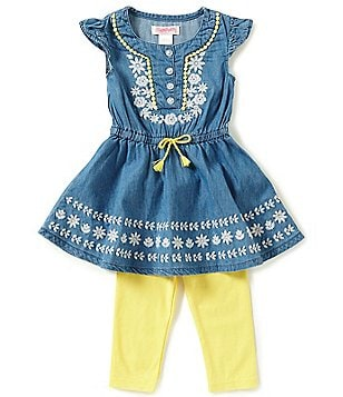 Flapdoodles Little Girls 2T-6X Embroidered Chambray Dress & Leggings Set