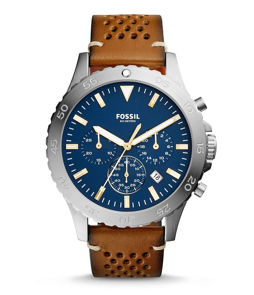 Fossil Crewmaster Sport Chronograph & Date Perforated Luggage Leather-Strap Watch