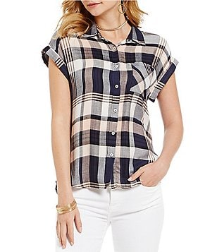 Skies Are Blue Point Collar Cap Sleeve Button Down Plaid Shirt