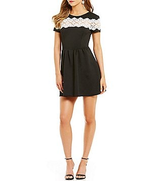 B. Darlin Crochet Lace Panel Tie Back Short-Sleeve Scuba Skater Dress