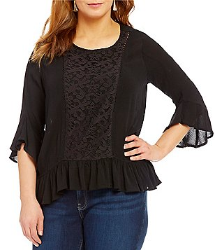 One World Apparel Plus Crepe Lace Flounce Top