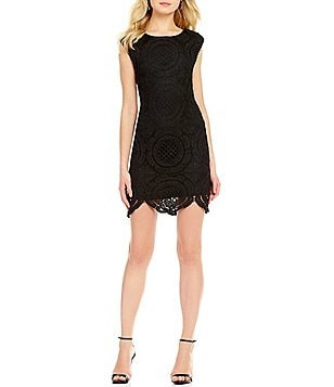As U Wish Medallion-Patterned Lace Sheath Dress