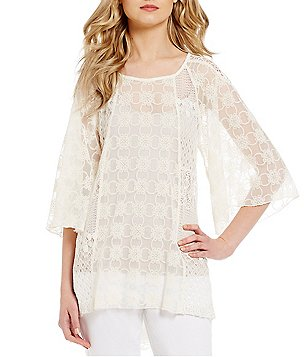 John Mark Lace 3/4 Sleeve Hi-Low Hem Top