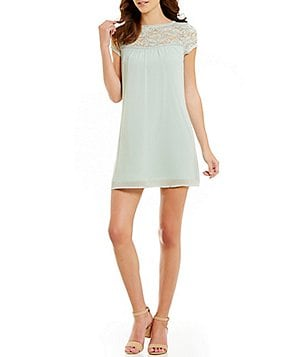 As U Wish Illusion Lace Yoke Short-Sleeve Shift Dress