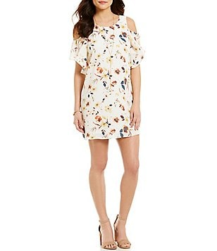 As U Wish Floral-Printed Cold-Shoulder Shift Dress