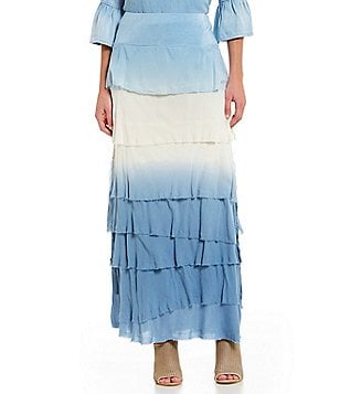 John Mark Ombre Tiered Maxi Skirt