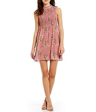 As U Wish Sleeveless Mock Neck Floral-Print Smocked Bodice Shift Dress
