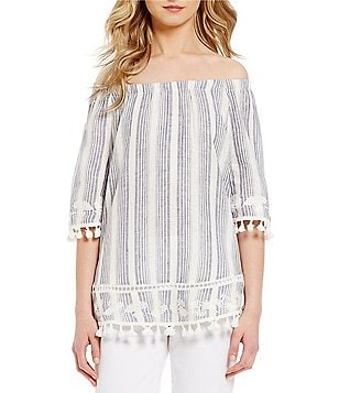 John Mark Off-the-Shoulder Tassel Trim Top