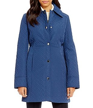 Anne Klein Snap Front Quilted Walker Coat