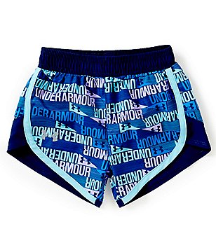 Under Armour Little Girls 2T-6X Wordmark Print Fast-Lane Shorts
