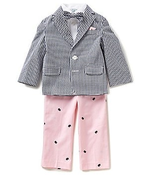 Class Club Little Boys 2T-7 Gingham 4-Piece Suit Set
