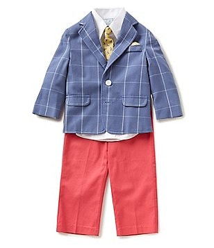 Class Club Little Boys 2T-7 4-Piece Windowpane Suit Set