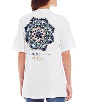 Lily Grace Bee Calm Short-Sleeve Pocket Graphic Tee