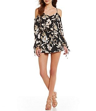 Skies Are Blue Off-the-Shoulder Long Sleeve Floral Romper
