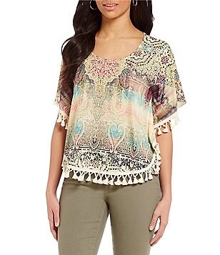 One World Apparel Petites Scoop-Neck Pom Pom Trim Faux Poncho