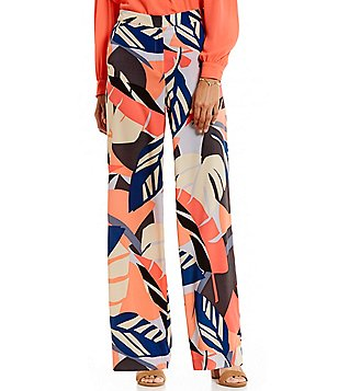 Vince Camuto Modern Tropics Flat Front Wide Leg Pant
