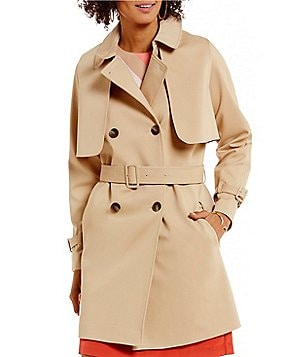 Vince Camuto Point Collar Long Sleeve Belted Trench Coat