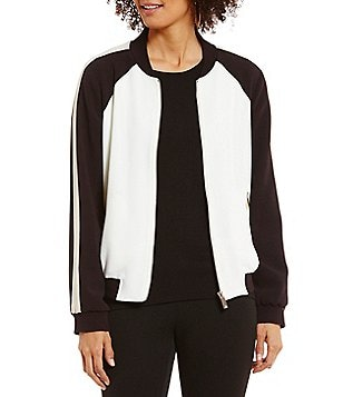 Vince Camuto Crew Neck Long Sleeve Colorblocked Pebbel Crepe Bomber Jacket