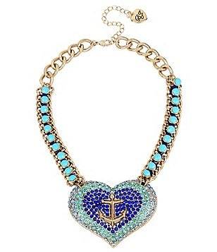 Betsey Johnson Pavé Anchor Heart Necklace