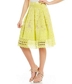 Antonio Melani Greer Organza Jacquard/Chemical Lace Skirt