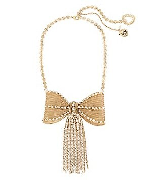 Betsey Johnson Chain-Fringed Metal Mesh Bow Statement Necklace