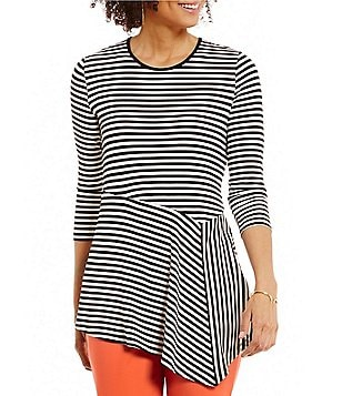 Vince Camuto 3/4 Sleeve Duo Stripe Asymmetrical Panel Hem Top