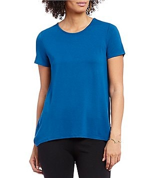 Vince Camuto Short Sleeve High-low Hem Mix Media Top