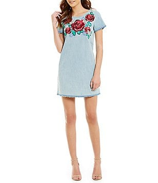 True Religion Embroidered Released Hem Denim Floral Dress