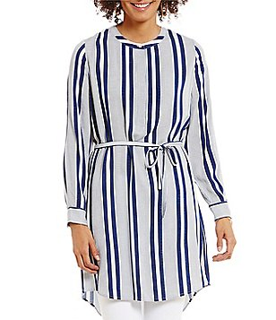 Two by Vince Camuto Long Sleeve Stripe Rows Shirt dress