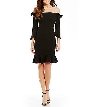 devlin Sandra Off-the-Shoulder Peplum Dress