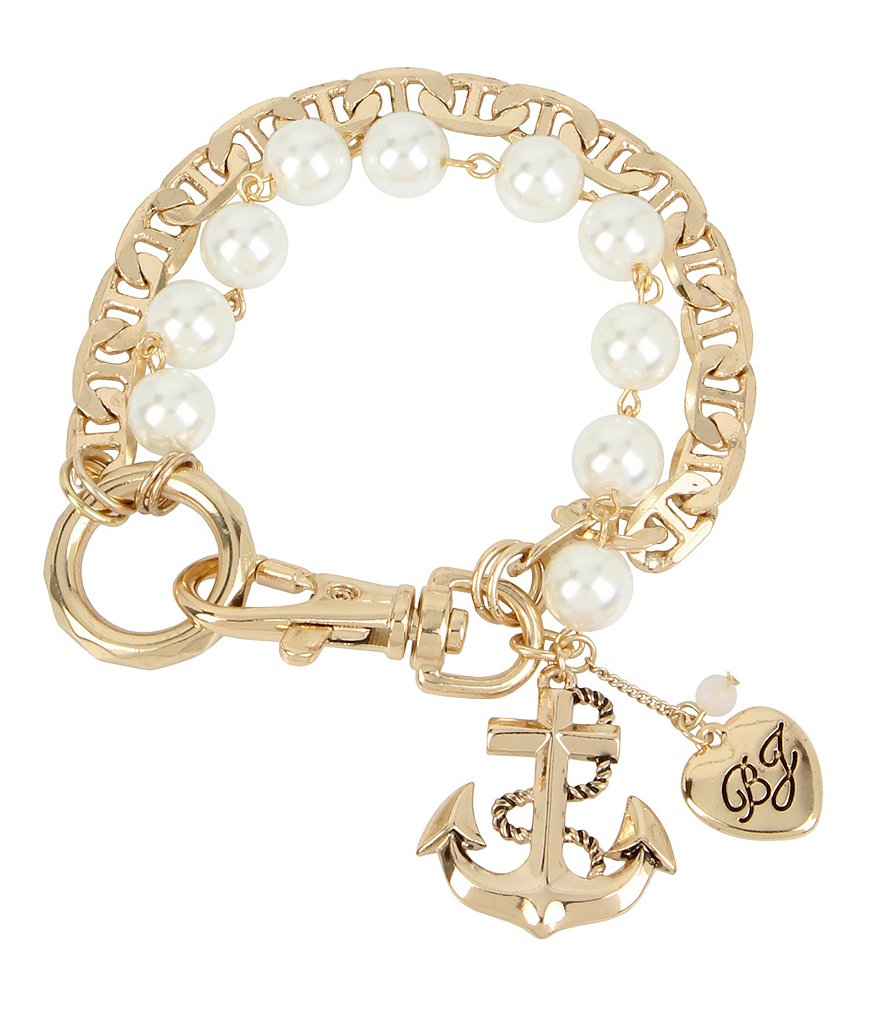 Betsey Johnson Anchor Charm Faux-Pearl Line Bracelet